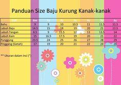 Ukuran baju kurung kanak-kanak