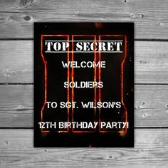 Personalized Call Of Duty Black Ops 3 Birthday by TheDigiSloth 9th Birthday Parties, 3rd Birthday, Birthday Ideas, Cod Black Ops 3, Camouflage Birthday Party, Call Of Duty Black, Birthdays, Xbox, Party Ideas