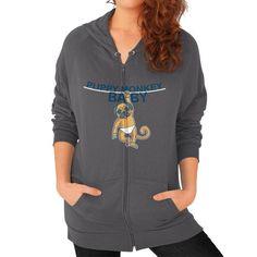Puppy Monkey Baby Shirt Zip Hoodie (on woman) Shirt
