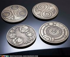 Doctor Who Gallifreyan Coasters. For living room (or home theater if I have it) and confusing people I don't like.