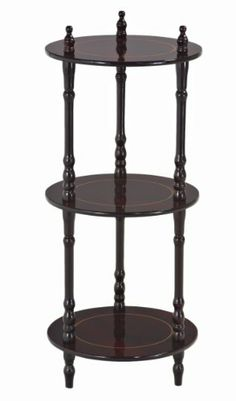 Narrow Nightstand for Guest Room -- Frenchi 3 Tier shelves in Cherry Finish