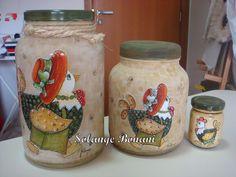 Potes de vidro pintados