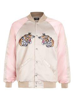 JADED Pink and Tan Tiger Print Souvenir Jacket - Souvenir Jackets - Style & Stuff - TOPMAN USA