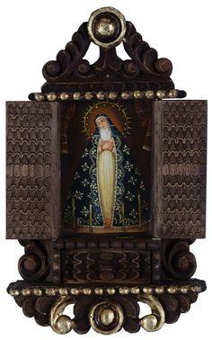 Lady of Sorrows~Old Art Icon Cuzco Colonial RETABLO~Santos Oil Painting
