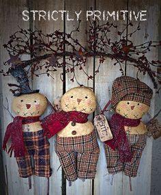 Primitive snowmen, Primitive Decor , primitive Christmas decor.