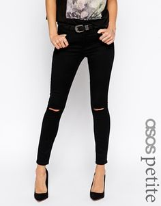 Enlarge ASOS PETITE Ridley Skinny Ankle Grazer In Clean Black With Ripped Knees