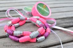 Duck Tape Bead Bracelet DIY - How To Make Duck Tape Beads at www.happyhourprojects.com