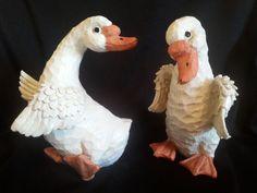 Geese Duck Figurines Resin Novelty #geese #ducks #whimsical #novelty #luckieslea