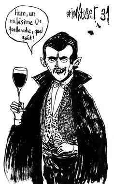 Et hopla, je clôture le défi #inktober avec ce Dracula fin amateur d'hémoglobine :).