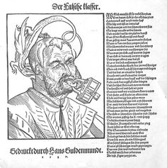 """""""Der Falsche Klaffer"""" [The False Slanderer] a dragon whispering poison in his ear but now his tongue is pierced by a padlock (engraved with the initials of the woodcut artist I[org] P[encz]. Originally made in 1536, this is a 1547 re-use illustrating the Hans Sachs poem, """"Des klaffers zung"""" [The slanderer's tongue] issued as a print by Hans Guldenmund in Nurnberg"""