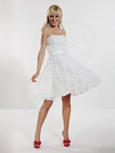 Jacquelin Bridals Canada - 22576 - Bridesmaids - Lovely A-line dress with straight across neckline. Floral sourache detail overlay on dress, waistband with bow. Short length skirt, zipper back closer.