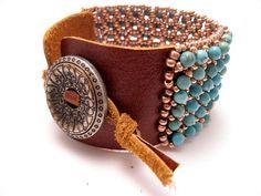 Southern Fried Artist: leather and gemstone bracelet