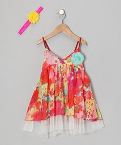 Take a look at this Red Floral Spring Halter Dress & Headband - Toddler & Girls by Koko Bean on #zulily today!