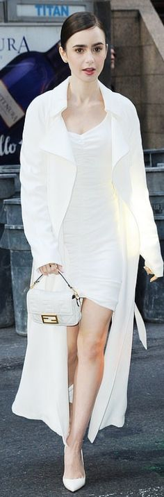 Lily Collins wearing Dress – Ronny Kobo Coat – Kendall and Kylie Shoes – Christian Louboutin h Purse – Fendi Jewelry – Cartier Lily Collins Style, Kendall And Kylie Shoes, Fashion Dictionary, White Mini Dress, Ruched Dress, Nice Dresses, Celebrity Style, Fendi, Celebrities