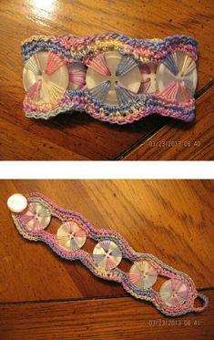 No Pattern Pinned for Inspiration Pastel Button Bracelet. Pastel Button Bracelet Picture only, original link is gone.This would be cute to embroider buttons onto fabric! Now I know what to d… Pastel Button Bracelet. Crochet Buttons, Crochet Stitches, Knit Crochet, Wire Crochet, Diy Buttons, Crochet Crafts, Yarn Crafts, Crochet Projects, Macrame Projects