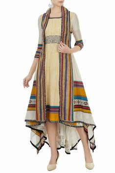 Dresses - Buy Multicolored hand block printed jacket with tunic by Poonam Dubey at Aza Fashions Indian Designer Outfits, Indian Outfits, Designer Dresses, Mode Abaya, Mode Hijab, Kurta Designs Women, Blouse Designs, Stylish Dresses, Casual Dresses