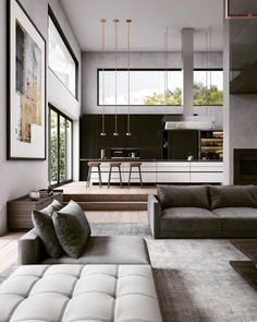 Private House is designed and visualized by artist Georgios Tataridis, located in Lyon, France. Luxury Interior, Modern Interior, Home Interior Design, Interior Architecture, Interior And Exterior, Gray Interior, Interior Design Magazine, Living Room Goals, Home Living Room