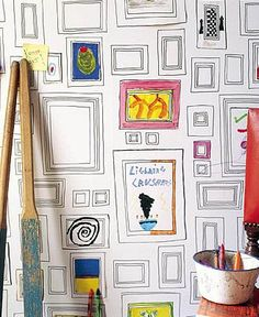 Nontraditional wallart-I saw this wallpaper on HGTV-love it!