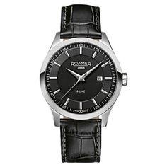 Roamer - Men  s R-line Black Leather Strap Watch - 943856415509 - 434c376e8c