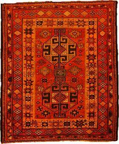 5' 1 x 6' 1 Red Kurdish Berber Persian Rugs