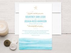 Watercolor Waves Beach Wedding Invitations