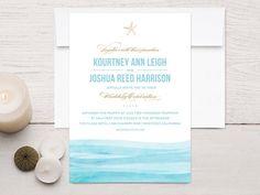 Watercolor Waves Beach Wedding Invitations