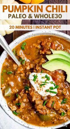 Chili Instant Pot Recipe, Instant Pot Dinner Recipes, Whole 30 Chili Recipe, Sin Gluten, Gluten Free, Paleo Recipes, Cooking Recipes, Healthy Chili Recipes, Easy Paleo Dinner Recipes