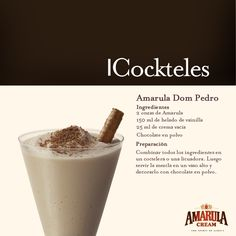 Amarula Dom Pedro...  Ideal para compartir entre amigos Drinks Alcohol Recipes, Drink Recipes, Alcoholic Drinks, Beverages, Cocktails, Cream Liqueur, Wine And Spirits, African Style, Wines