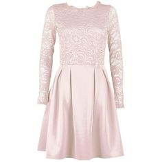 Boohoo Tall Suzu Lace Panel Skater Dress (197505 PYG) ❤ liked on Polyvore featuring dresses, cami dress, pink skater dress, pink dress, bodycon cocktail dress and pink bodycon dress