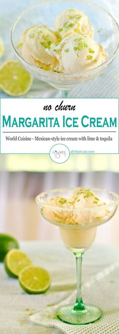 No-churn margarita ice cream is a refreshing grown-up treat with tequila and lime and perfect for summer parties or after a long workday. Make every hour a happy hour with this grown-up treat!   allthatsjas.com   #icecream #frozencocktail #nochurn #cincodemayo #party #grownuptreat #homemade #recipes #recipeoftheday #mexican #tequila #lime #delicious #easy #dessert