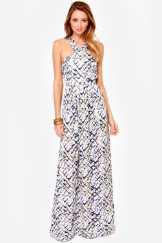 love the nautical vibe of this maxi dress