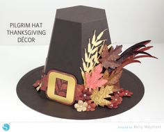 Pilgrim Hat Decor - fun Thanksgiving centerpiece (a Silhouette Project) by Kelly Wayment for Silhouette
