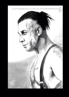 Gift for a dear friend. Watercolors and bic pen on rough paper. Till Lindemann portrait.