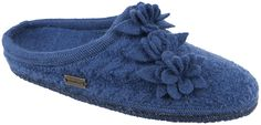 Haflinger Charisma Women's Wool Slipper With Appliqued Old Fashioned Flower On Top $76
