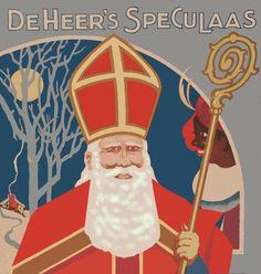 Sinterklaas reclame, papieren buitenzijde van blik, De Heer's Speculaas (image complètement restaurée avec PhotoFiltre)