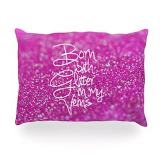 """Beth Engel """"Born with Glitter"""" Pink Sparkle Oblong Pillow"""