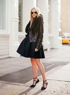 what-do-i-wear:  Jacket:Alexander McQueen(via Saks). Dress:Tibi. Shoes:Valentino(via Saks). Sunglasses:Ray Ban(via Saks). (image:at...