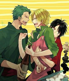 Zoro, Sanji, Luffy, the Monster Trio, funny, apron, cooking; One Piece