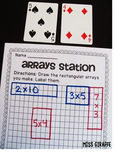 How to Teach Arrays blog post full of ideas - use playing cards to make arrays!! Click for math station instructions