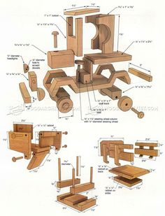 Wooden Toy Truck Plans - Wooden Toy Plans and Projects - Woodwork, Woodworking, Woodworking Plans, Woodworking Projects Woodworking Furniture Plans, Beginner Woodworking Projects, Woodworking Toys, Woodworking Patterns, Woodworking Workshop, Youtube Woodworking, Woodworking Techniques, Diy Wooden Toys Plans, Wooden Diy
