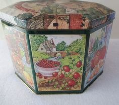 Decorative Tin, Vintage Crabtree and Evelyn Kitchen Craft Storage, Country Cottage Farm Fruit Cookie, Red Green Yellow Brown Blue by HobbitHouse on Etsy Red Green Yellow, Yellow And Brown, Blue, Vintage Tins, Etsy Vintage, Spice Containers, Craft Storage, Turkish Towels, Sell On Etsy