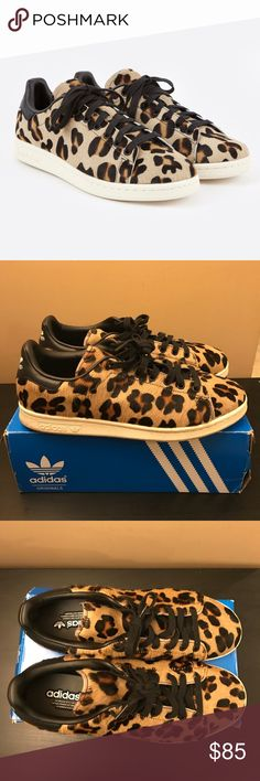 Adidas Stan Smith Leopard-Print Pony Hair Sneakers UNISEX style. Size 11 mens. Like new condition. Worn three times. Runs 1/2 to whole size big. Comes with damage shoe box. adidas Shoes Sneakers