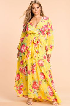 Plus Size Dress for Summer   Plus Size Floral Maxi Dress with Sleeves