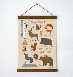 Tiere des Waldes, Poster A3:  Das illustrierte Poster zeigt 12 typische Bewohner des europäischen Waldes:  Der Specht Der Biber Der Hirsch Der Fuchs Der Hase Die Maus Das Wildschwein Das...