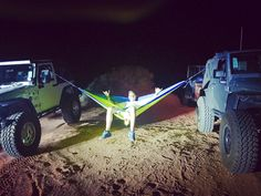 THIS is how you camp!!! Swaying in the wind under the stars... #camping #campoutnight #camp #hammock #jeep #jeeplife #jeepfamily #jeepwrangler #wrangler #wranglerhq #rubicon #underthestars #twistedaxeltherapy #tat #grandtrunkhammocks #grandtrunk
