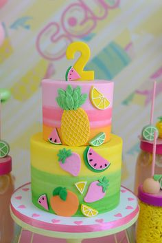 Celine turns two! Twotti Fruitti celebration at her home with her closest friends! 2nd Birthday Party For Girl, Fruit Birthday Cake, Girl Birthday Decorations, Watermelon Birthday, Girl Birthday Themes, Themed Birthday Cakes, Birthday Cookies, Themed Cakes, Fruit Party