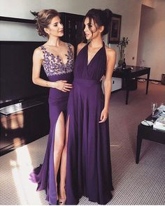 Fashion V-neck Prom Dress,Applique Purple Split Prom Dresses For Party