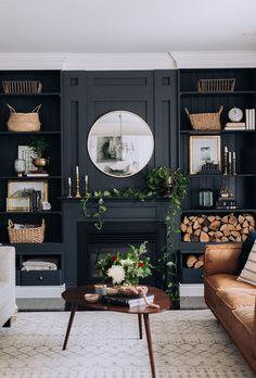 Dark Living Rooms, Home Living Room, Living Room Designs, Living Room Decor, Small Living, Cozy Living, Apartment Living, Alcove Ideas Living Room, Decor Room