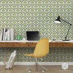 Large Designer Wallpaper Wall Stencils with Flower Scallop Design - Fanfare Scallop Wall Stencils - Royal Design Studio