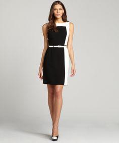 Tahari ASL black and ivory belted stretch sleeveless dress   BLUEFLY up to 70% off designer brands